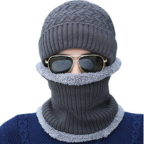 Hombre de Invierno Gorras BOZEVON Sombreros Punto collar Gorro con Beanie Gris Calentar Bufanda EqT6gp