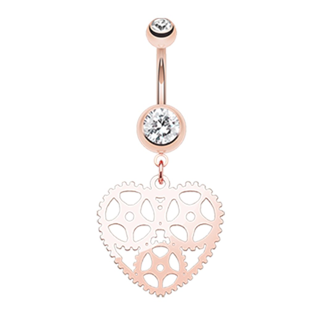 Inspiration Dezigns 14G Rose Gold Heart Belly Button Navel Rings Barbell Stud