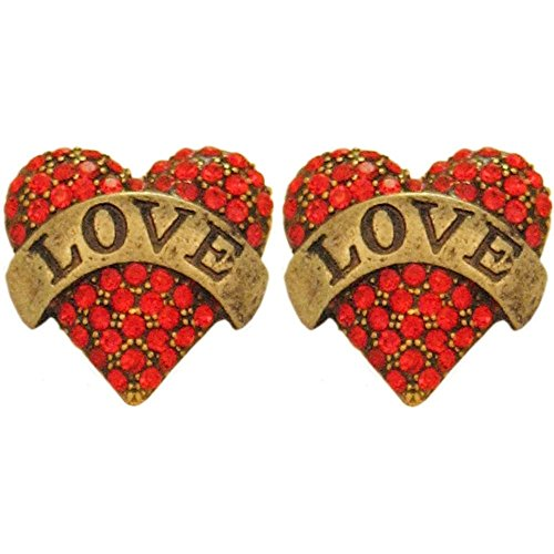 (Tattoo Style Love Heart Stud Earrings, Paved with Crystal Rhinestones, in Red with Antique Brass Finish)