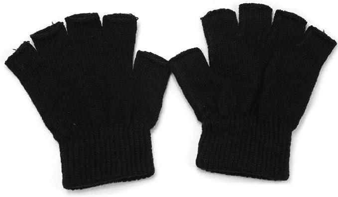 Men Black Knitted Stretch Elastic Warm Half Finger Fingerless Gloves Winter