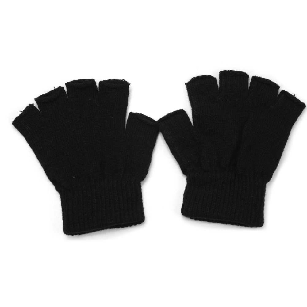 Refaxi Men Black Knitted Stretch Elastic Warm Half Finger Fingerless Gloves for Winter by ReFaXi (Image #1)