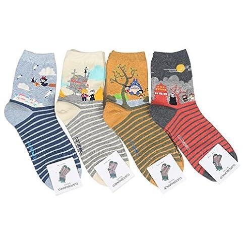 - 51HVOzSG48L - Customonaco Women Miyazaki Hayao Cartoon Socks,Multi,One Size (4 Pack)