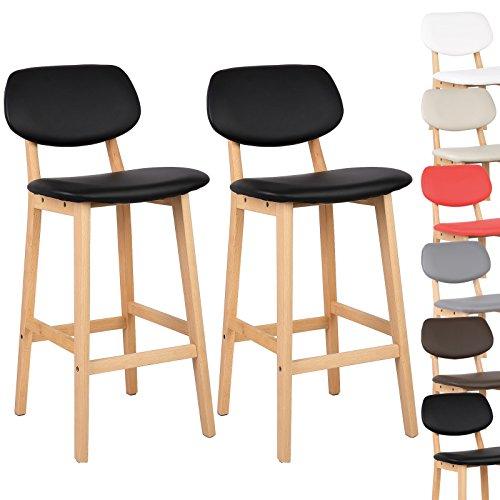 Woltu bh51sz 2 tabouret de bar lot de 2tabouret de cuisine design en cuir artificiel et boisnoir amazon fr cuisine maison