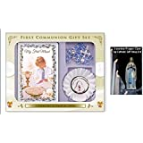Boys Rosette with Communion Rosary Beads & Book First Holy Communion Gift Set + LOURDES PRAYER CARD by Catholic Gift Shop Ltd