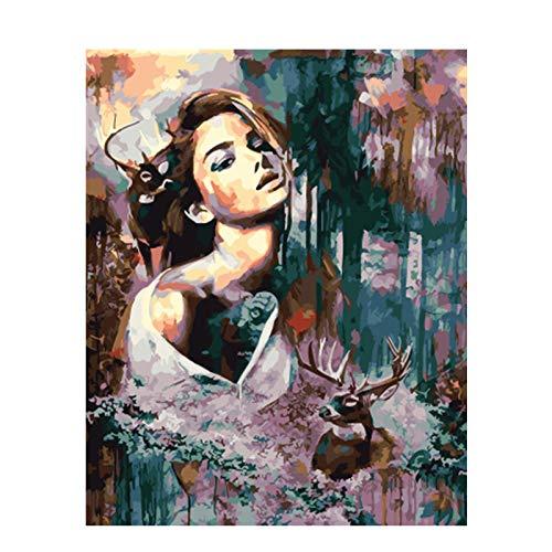 KYKDY Gerahmtes Bild Schönheit Dame DIY Malen nach Zahlen Bunte Bild Home Decor für Wohnzimmer Hand Einzigartige Geschenke GX9353, kein Rahmen 40x50 cm, HUABI B07PHQK3MB   Exzellente Verarbeitung