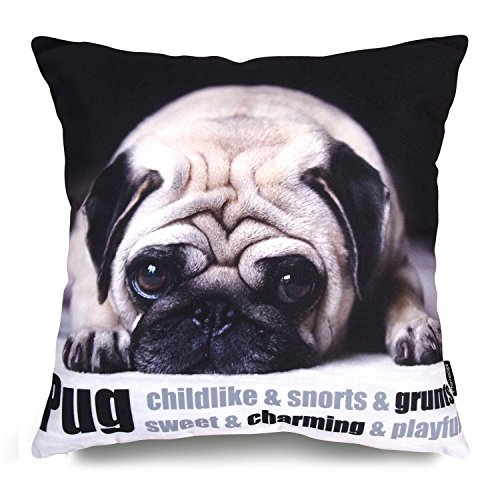 "Price comparison product image Phantoscope Dog Series Cotton Decorative Throw Pillow Case Cushion Cover Pug 18 ""X18 """