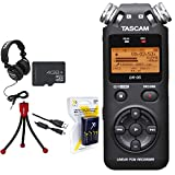Tascam Portable Digital Recorder (DR-05) w/Bundle + Xit AA Charger (100-240v) w/ 4 2950mah AA Batteries + Flexible Mini Table-top Tripod + Technical Pro Closed-Back Headphones