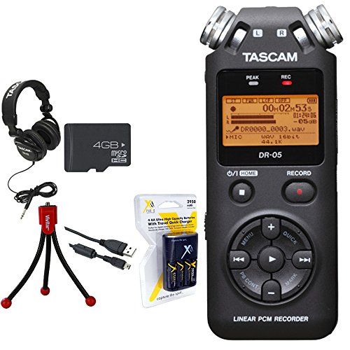 Tascam Portable Digital Recorder (DR-05) w/Bundle + Xit AA Charger (100-240v) w/ 4 2950mah AA Batteries + Flexible Mini Table-top Tripod + Technical Pro Closed-Back Headphones by Tascam