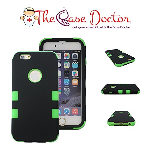 TCD for Apple iPhone 6 6S [4.7 Inch Device ONLY] Hybrid Case [Black and Green] Rhino Armor Defender Series Multi Layer [Hard/Soft Combo] Case Cover [Screen Protector Stylus Pen]