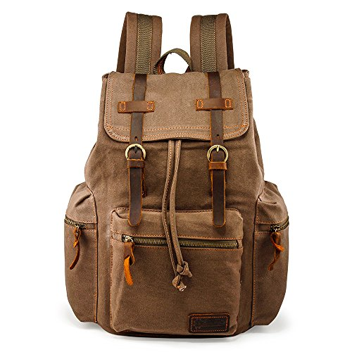 GEARONIC TM 21L Vintage Canvas Backpack for Men Leather Rucksack Knapsack 15 inch Laptop Tote Satchel School Military Army Shoulder Rucksack Hiking Bag Brown ()