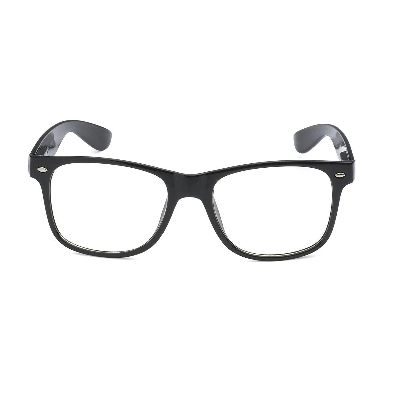 515ff13a4aa7e RETRO NERD Geek Oversized BLACK Framed Spring Temple Clear Lens Eye ...