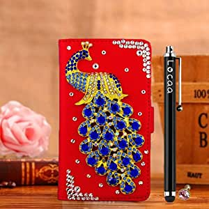 Locaa(TM) For Huawei Honor 6 3D Bling Peacock Case + Phone stylus + Anti-dust ear plug Deluxe Luxury Crystal Pearl Diamond Rhinestone eye-catching Beautiful Leather Retro Support bumper Cover Card Holder Wallet Cases [Peacock Series] Red case - Darkblue peacock