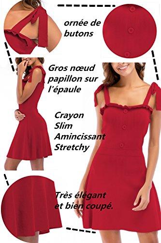 Robe N Tricote sans Papillon Plage Soire Manche t ud Cocktail Rouge Elgante Bretelle Robe de Monissy qw18p8