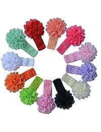 Qandsweet Baby Girl's Headbands Chiffon Hair Bow (12pack Grenadine Flowers)