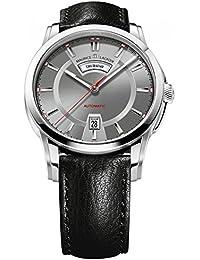Men's Pontos Grey Dial Black Leather Strap Automatic Watch PT6158-SS001-231