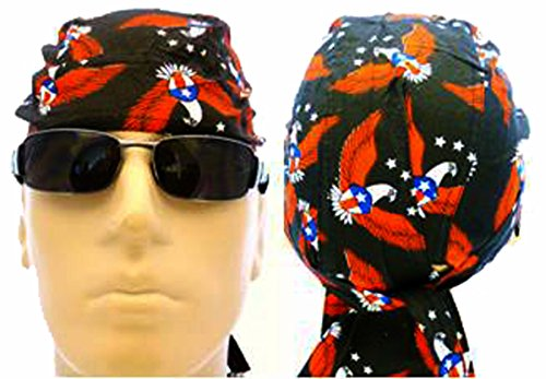 American Flag Patriotic Red White Blue Biker Skull Cap Bandana Head Wrap USA (One Size, Flying Eagle) Eagle Bandana