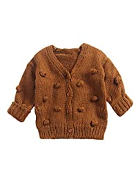 KONFA Toddler Newborn Baby Boys Girls Pompoms Soft Cardigan Sweater,Kids Warm Knitted Pullover Tops Winter Clothes White