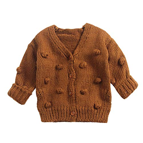 CSSD Affordable Newest Stylish Baby Girls Winter Cute Sweater,Kids Knit Cardigan Jacket Tops Handmade Bubble Ball Clothes (Brown, 6M)