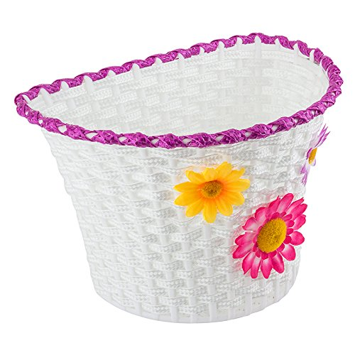 Classic Bike Basket - Small Bicycle Basket with Removable Flowers - 10 x 6.5 x 6.25 by Sunlite (Image #1)