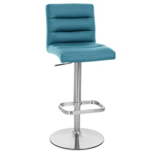 Zuri Furniture Teal Lush Adjustable Height Swivel Armless Bar Stool