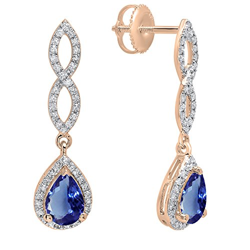 (Dazzlingrock Collection 14K 7X5 MM Each Pear Tanzanite & Round Diamond Ladies Infinity Dangling Drop Earrings, Rose Gold)