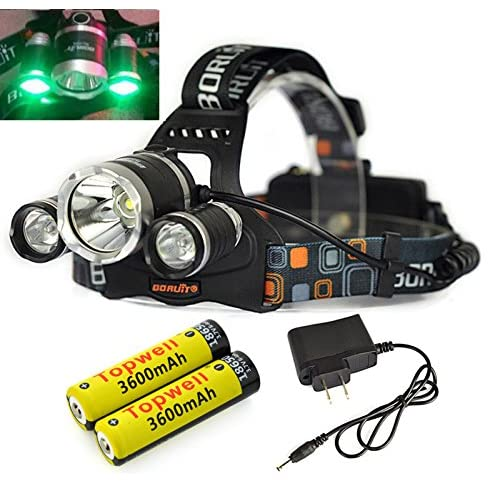 Topwell® Green Color Shooting Headlamps Light Tactical 5000LM 3 x CREE XM-L T6 +2 x Green R5 LED Head Headlight Torch Lamp GREEN Lights Headlamps for Hunting Night Fishing