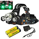 Topwell® Green Color Shooting Headlamps Light Tactical 5000LM 3 x CREE XM-L T6 +2 x Green R5 LED Head Headlight Torch Lamp GREEN Lights Headlamps for Hunting Night Fishing with 2 x 18650 3600 Mah Rechargeable Battery and Charger