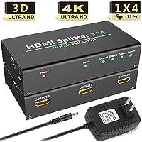 Hhusali 1x4 HDMI Splitter 1 In 4 Out Digital 1 x 4 Splitters with Full HD 4K x 2K, 3840 × 2160, 3D Support