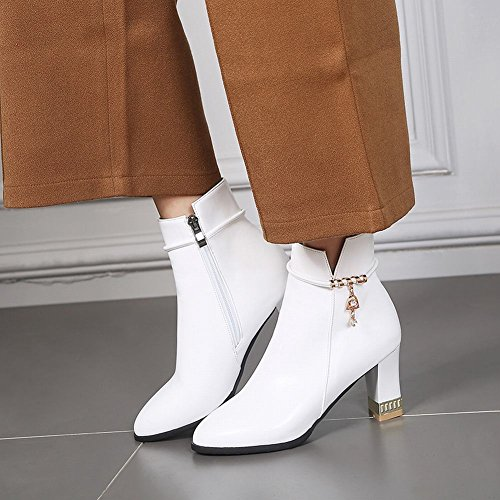 Mee Shoes Women's Fashion Mid Heel Block Heel Zip Ankle High Boots White jnjMRr6