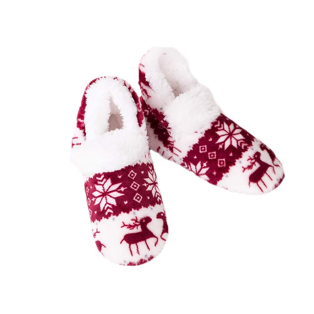 Womens Indoor warm Fleece Pantoffeln Damen Girls Cartoon Winter weiche gemütliche Booties Rutschfeste Plüsch-Slip-on-Schuhe KnöchelStiefel (blau) Hilai