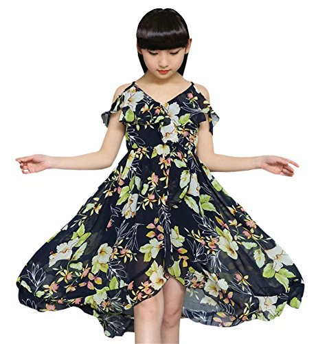 BINPAW Girl's Spaghetti Strap Off Shoulder Hawaiian Flowers Maxi Beach Dress