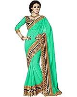 Nirjas Designer Women's Georgette Saree With Blouse Piece (Royal Green_A_Green)