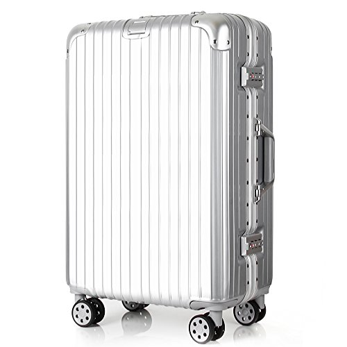 Travel luggage Aluminum Frame Lightweight Hardside Suitcase TSA Locks 26 inch Silver by TOGEDI