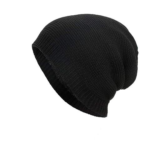c040466c166 Vertily Solid Cotton Hat Unisex Warm Winter Ski Knit Outdoor Hair Protection  Cap (Black)