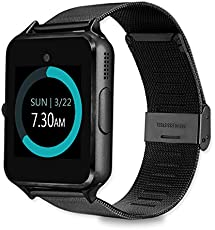 MyTECH Smartwatch Z60 Reloj Celular con Extensible de Metal Bluetooth con Cámara para iPhone Android (Negro)