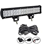 Willpower 15″inch 90W Combo LED Work Light Bar + Wiring Harness Kit for Truck Car ATV SUV 4X4 4WD Jeep Truck Driving Lamp