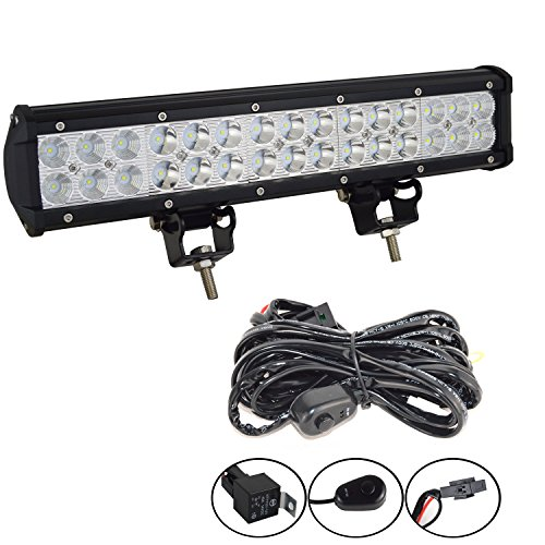 Willpower 15 inch 90W Spot Flood Combo LED Work Light Bar with Wiring Harness Kit for Truck Car ATV SUV 4X4 4WD Jeep Truck Driving Lamp