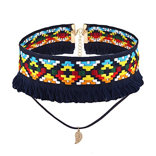 Kissweet Bohemian Retro Vintage Colorful Handmade Embrodered Choker Collar Double Layered Leaves Pendant Choker Necklace (Blue)