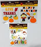 Fall Harvest Autumn Thanksgiving Window Gel Clings: Leaves, Pumpkins, Scarecrows, Letterings