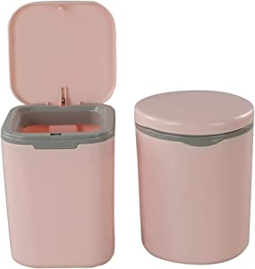 Morcte 2-Pack 0.5 Gallon Tiny Trash Can, Mini Desktop Garbage Can with Push Button Lid, Pink