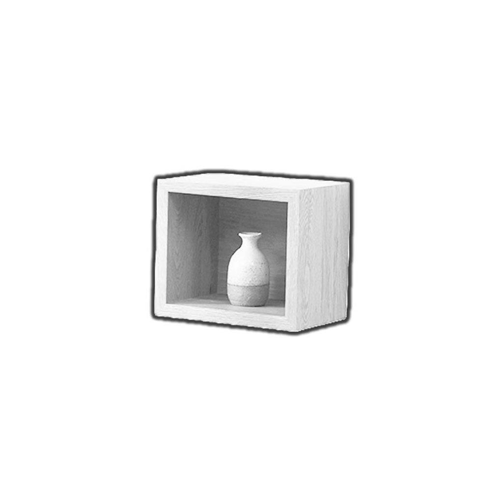 LTJTVFXQ-shelf Wooden Wall Shelf Bedroom TV Wall Hanging Living Room Corner Shelf Corner Partition Modern And Simple Two Squares One Separate Levels (Color : White)