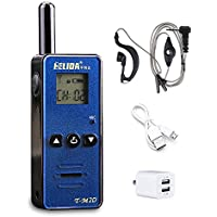 HELIDA T-M2D 128 Channel Mini UHF Portable Walkie Talkie Ham Two Way Radio with Earpiece (Blue)