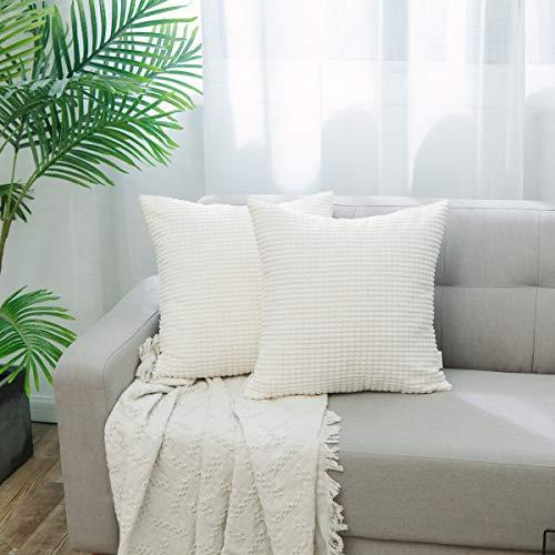 NATUS WEAVER Set of 2, Decor Supersoft Pillow Cover Corn Striped Velvet Corduroy Decorative Throw Toss Cushion Cover for Sofa, Cream, 20 inch ()