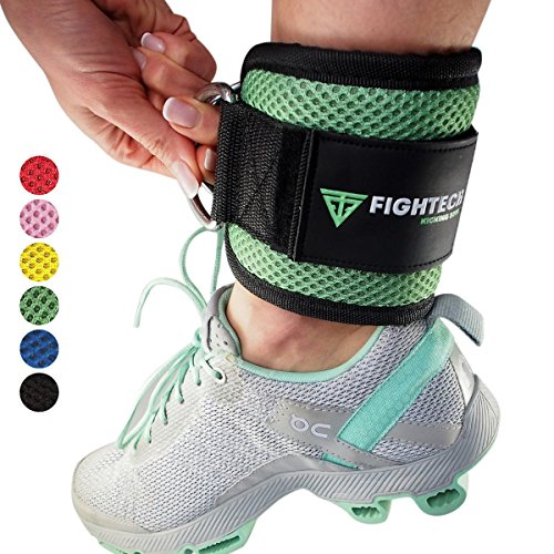 Ankle Mint (FIGHTECH Ankle Straps by for Cable Machine Workouts with Durable Cuffs for Ab, Leg & Glute Exercises – Premium Fitness Equipment for Women & Men (MINT))