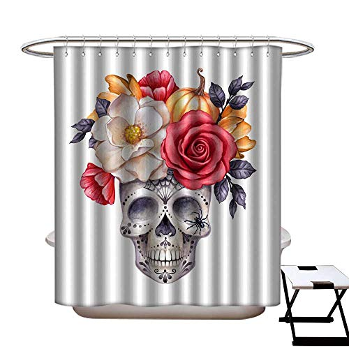 Shower Curtain with Hooks watercolor illustration Halloween floral skull fall flowers autumn pumpkin dia de los muertos festive clip art isolated on white background Shower CurtainW72