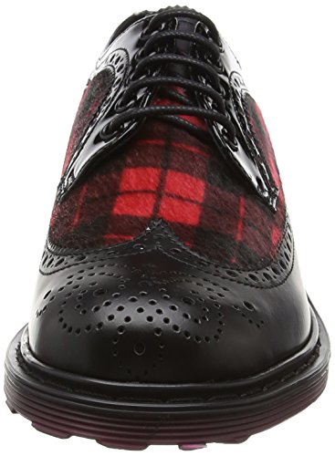 Cult Sabbath Low 491 Br.Leat/Syn.Tartan, Mocasines para Mujer Negro - Noir (Black/Red)