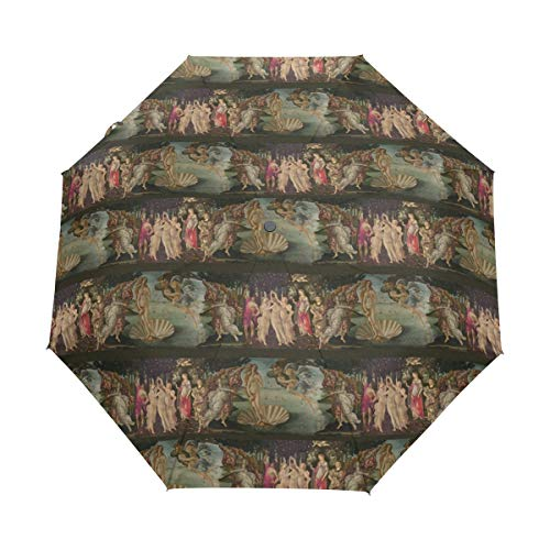 - Botticelli Birth Of Venus And Primavera With Stripes 3 Folds Auto Open Close Anti-UV Umbrella Windproof & Waterproof Compact Travel Sun Umbrella