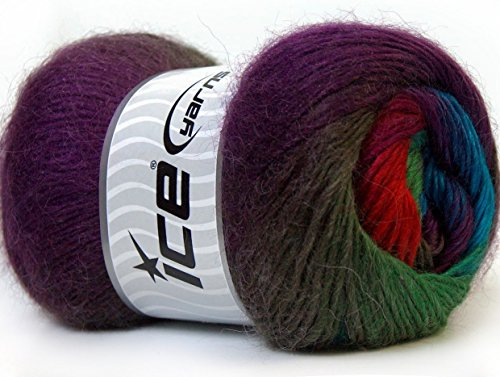Lot of 4 x 100gr Skeins ICE Madonna (40% Wool 30% Mohair) Yarn Purple Green Shades Red Blue