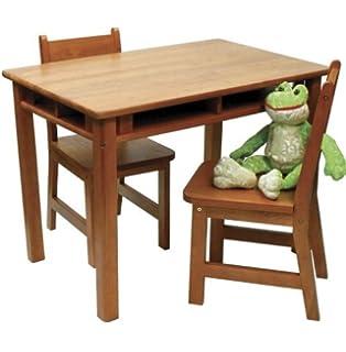 Lipper International Childs Rectangular Table and 2-Chair Set, Light Brown