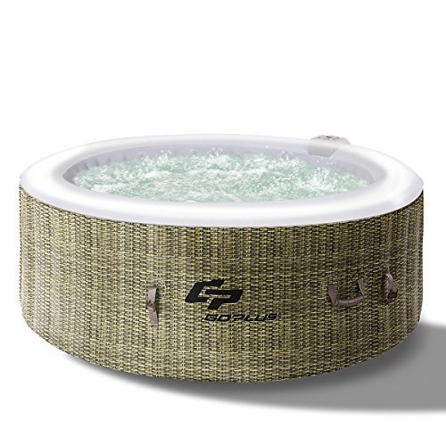 (GYMAX Outdoor Spa, 4 Person Inflatable Portable Hot Tub with Accessories Set for Relaxation Hydrotherapy (Coffee))
